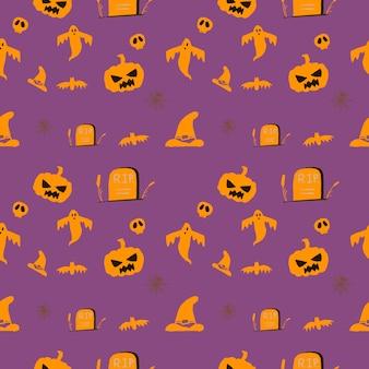 Halloween fofo e fundo de padrão sem emenda de desenho animado, gráfico de arte de decoração illustraton para padrão de tecido