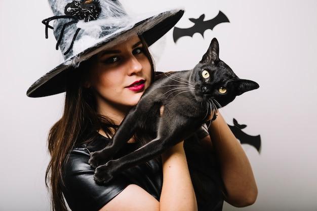 Halloween vestido mulher com gato