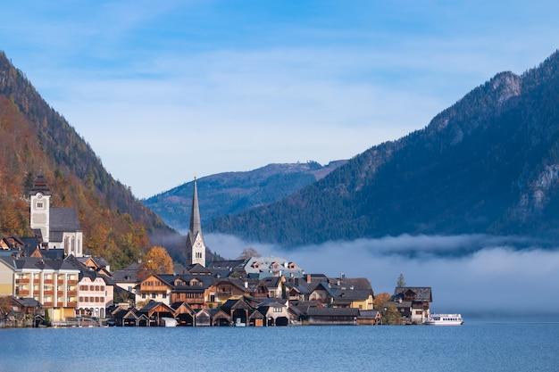 Hallstatt, montanha, vila, clássico, cartão postal, vista salzkammergut, áustria