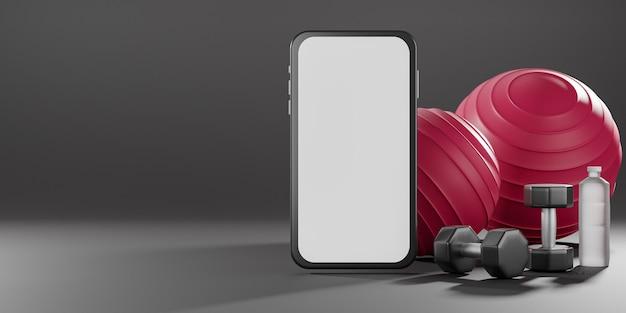 Haltere de metal, fit-ball vermelho e garrafa de água potável com tela branca do celular