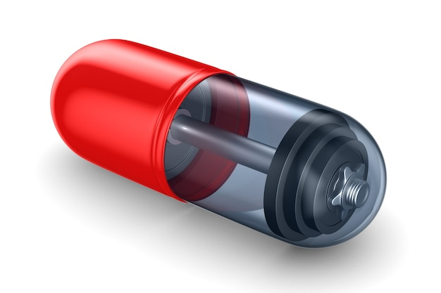 Haltere em pílula no espaço em branco. ilustração 3d isolada