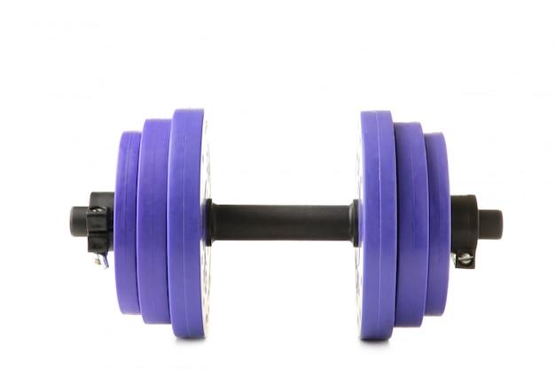 Haltere violeta do ginásio isolado no fundo branco