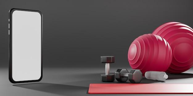 Halteres de metal, bola fit, tapete de ioga e garrafa de água potável com tela preta do celular