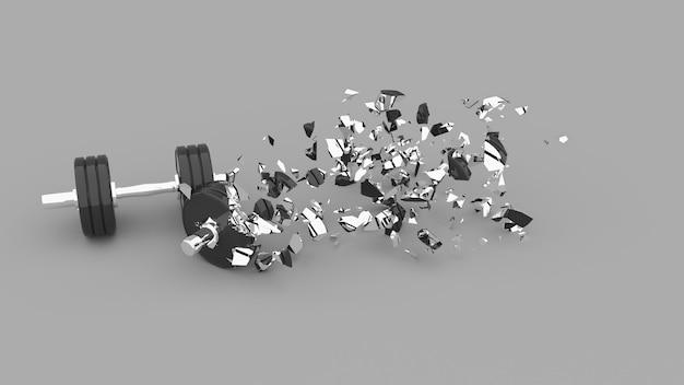 Halteres parcialmente destruídos com fragmentos voadores, ilustração 3d