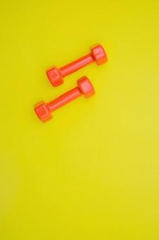 Halteres vermelhos para esportes. equipamento desportivo para desportos caseiros.