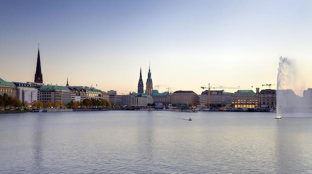 Hamburg arrebol innenalster alemanha alster
