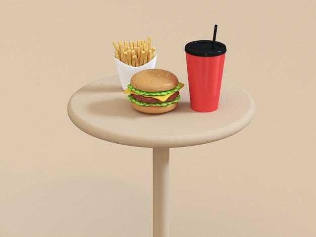 Hamburger do estilo dos desenhos animados do fast food 3d ajustado na tabela com rendição vermelha das batatas fritas do copo vermelho