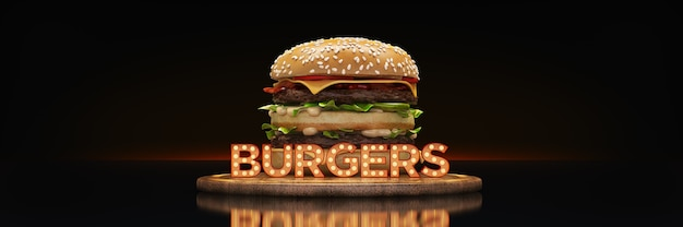 Hambúrguer com sinal de néon renderização em 3d