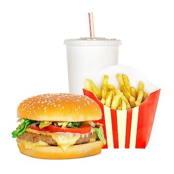 Hambúrguer conceito de fast food com fritas