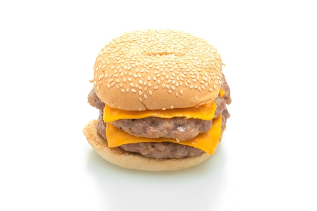 Hambúrguer de porco ou hambúrguer de porco com queijo isolado no fundo branco