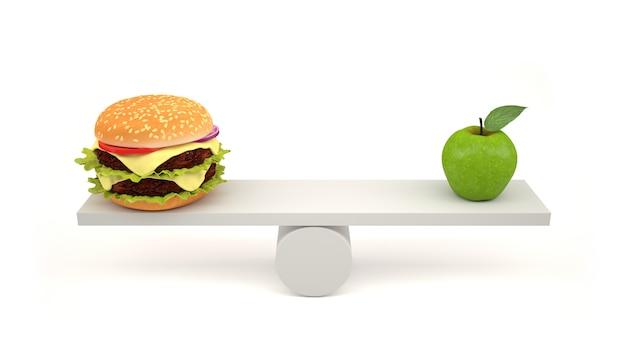 Hambúrguer e maçã verde em escalas.
