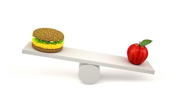Hambúrguer e maçã vermelha em escalas