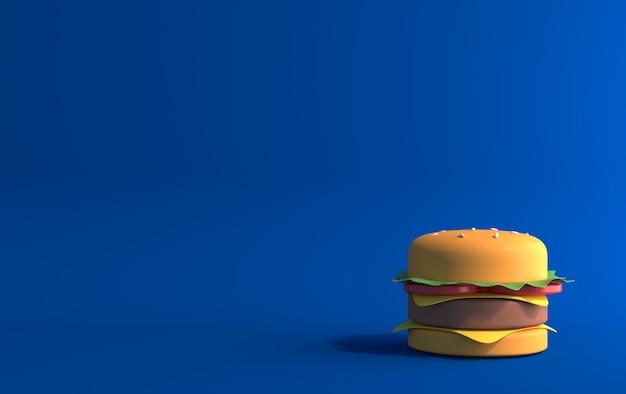 Hambúrguer em um fundo azul, vista frontal