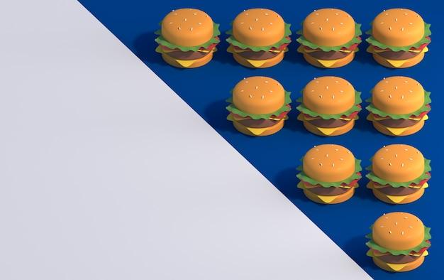 Hambúrgueres em fundo azul e branco