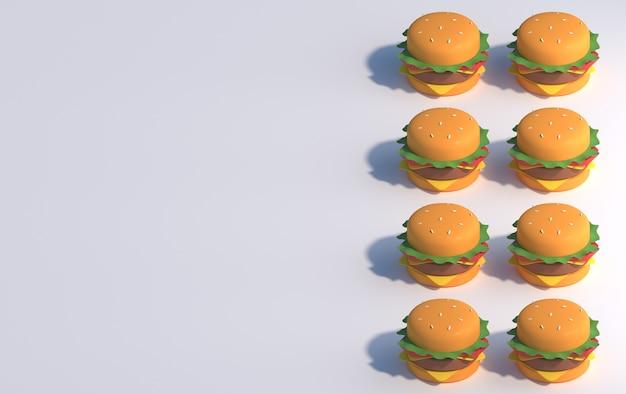 Hambúrgueres em fundo branco