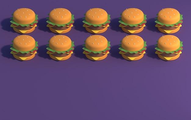 Hambúrgueres em um fundo roxo