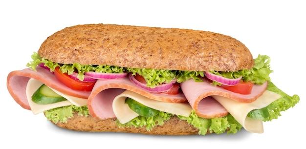 Hamlong de presunto e sanduíche submarino suíço isolado no branco