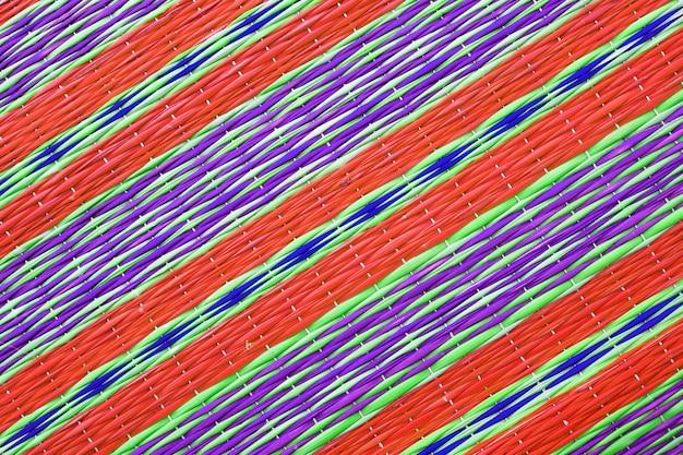 Handcraft o teste padrão do weave da textura fundo natural colorido bonito vista do topo