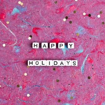 Happy holidays grânulos tipografia de texto