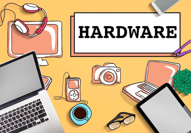 Hardware software conceito de tecnologia eletrônica