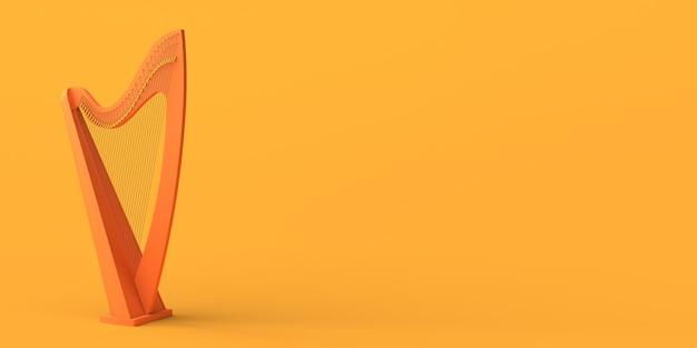Harpa em fundo amarelo. copie o espaço. ilustração 3d.