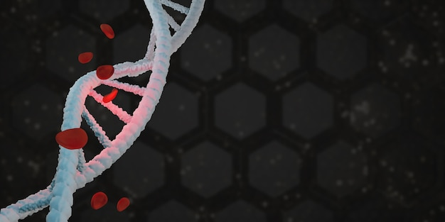 Hélice de dna estrutura de vida e células vermelhas do sangue ilustração 3d