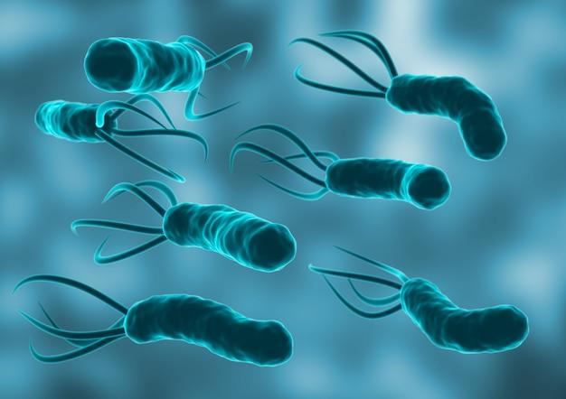 Helicobacter pylori no ambiente microscópico.