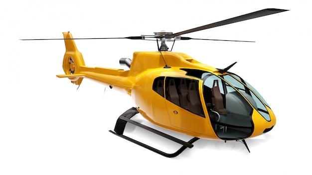 Helicóptero amarelo isolado no branco