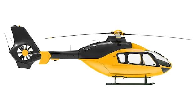 Helicóptero amarelo isolado no fundo branco. ilustração 3d.