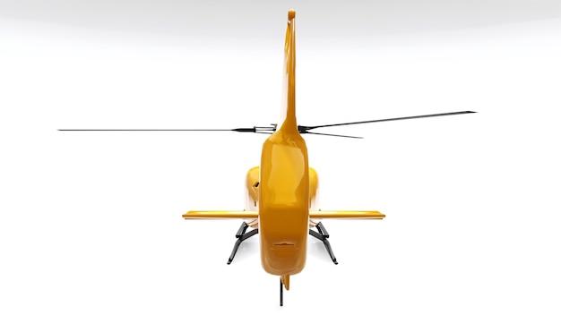 Helicóptero amarelo isolado no fundo branco. renderização 3d.