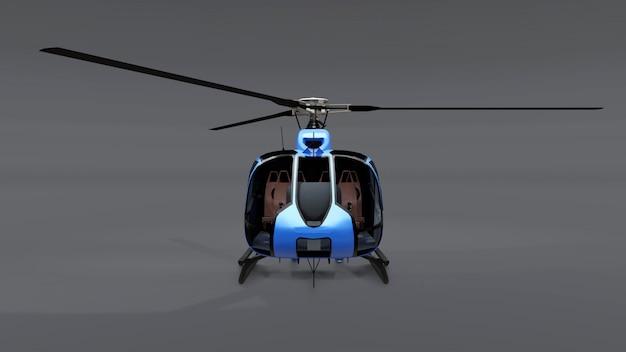 Helicóptero azul isolado no fundo cinza