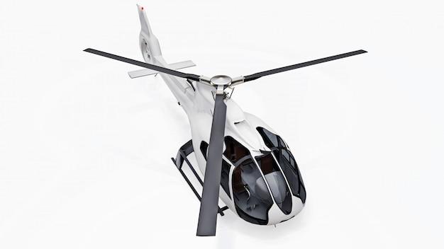 Helicóptero branco isolado na superfície branca