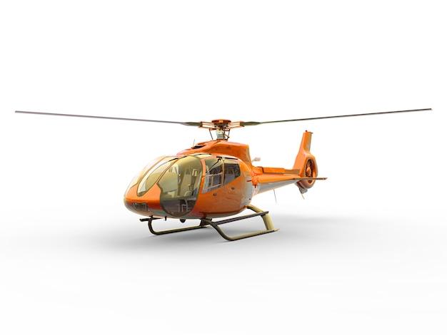Helicóptero civil laranja em uma superfície branca e uniforme