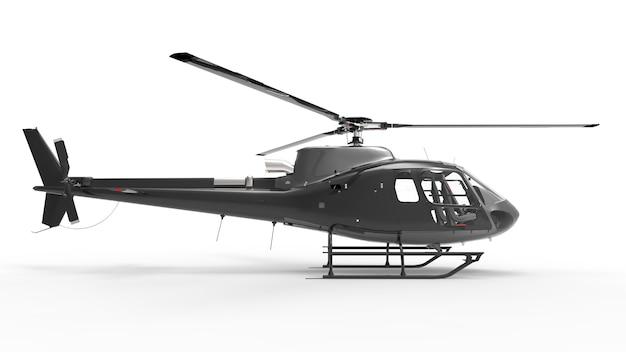 Helicóptero civil preto sobre uma superfície uniforme branca