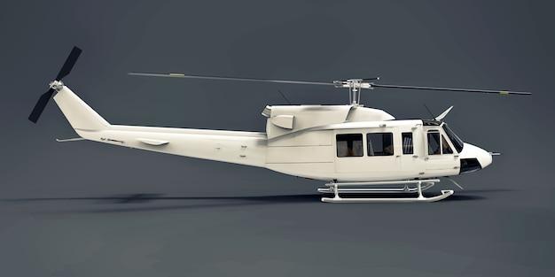 Helicóptero de transporte militar pequeno branco em fundo cinza isolado. o serviço de resgate de helicóptero. táxi aéreo. helicóptero para serviço de polícia, bombeiros, ambulância e resgate. ilustração 3d.