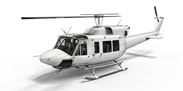 Helicóptero de transporte militar pequeno branco sobre fundo branco isolado. o serviço de resgate de helicóptero. táxi aéreo. helicóptero para serviço de polícia, bombeiros, ambulância e resgate. ilustração 3d.