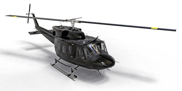 Helicóptero de transporte militar pequeno preto sobre fundo branco isolado