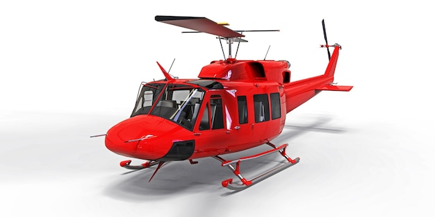 Helicóptero de transporte militar pequeno vermelho sobre fundo branco isolado. o serviço de resgate de helicóptero. táxi aéreo. helicóptero para serviço de polícia, bombeiros, ambulância e resgate. ilustração 3d.