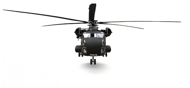 Helicóptero de transporte ou resgate militar na superfície branca