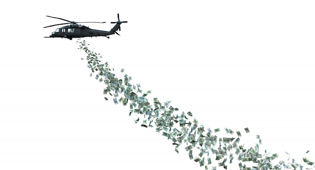 Helicóptero distribuindo dinheiro isolado no branco.