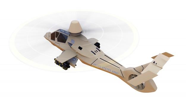 Helicóptero do exército moderno em voo com um conjunto completo de armas em um fundo branco. ilustração 3d