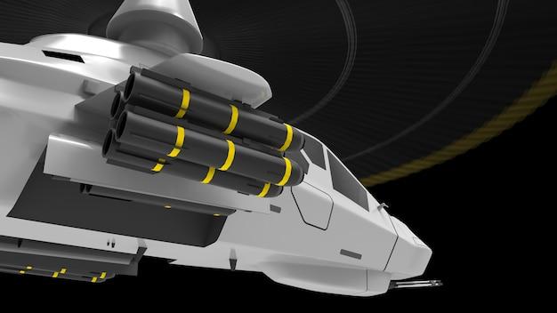 Helicóptero do exército moderno em vôo com um conjunto completo de armas em um fundo preto. ilustração 3d.