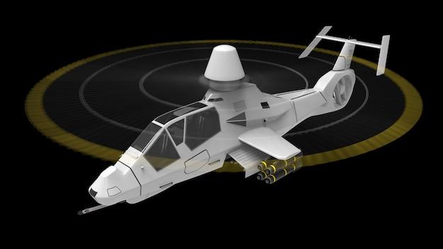 Helicóptero do exército moderno em voo com um conjunto completo de armas em uma superfície preta