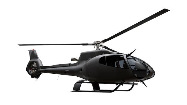 Helicóptero preto isolado na superfície branca