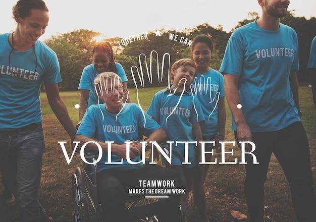 Helping hands volunteer support gráfico de serviço comunitário