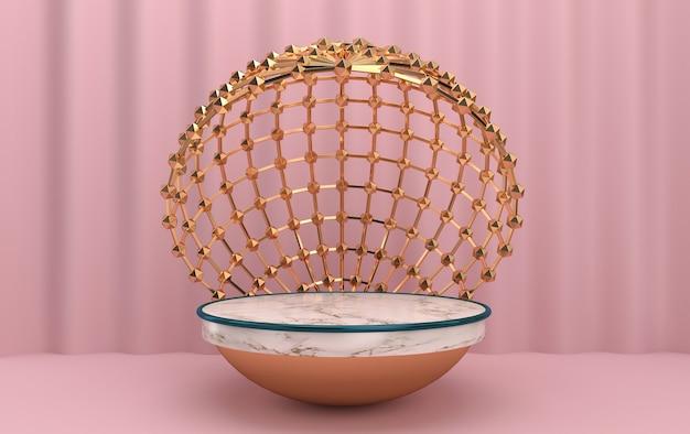 Hemisfério de mármore dentro da gaiola, conjunto de grupos de formas geométricas abstratas, fundo rosa, gaiola de ouro redonda, renderização em 3d, cena com formas geométricas, cena minimalista de moda