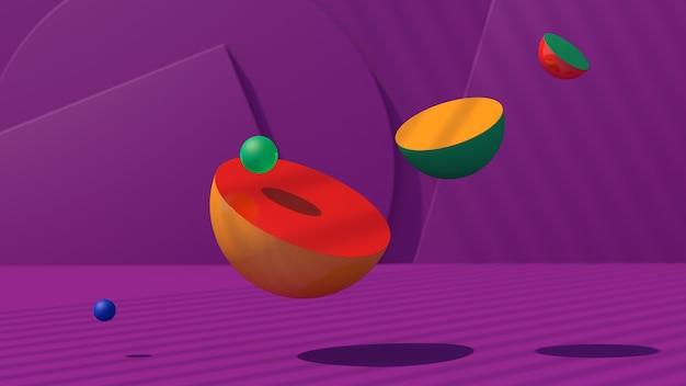 Hemisférios coloridos brilhantes. fundo roxo. ilustração abstrata, renderização 3d.