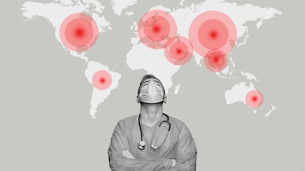 Herói médico trabalhando durante a pandemia global de coronavírus
