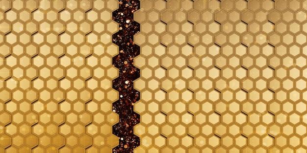 Hexágono abstrato dourado parede dourada do favo de mel ilustração elegante bokeh 3d