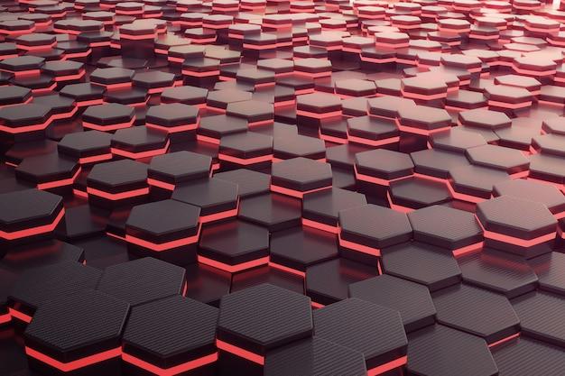 Hexágono brilhante vermelho futurista.